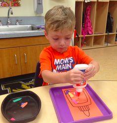 Preschool Wonders: August 2014 learning how to use glue.