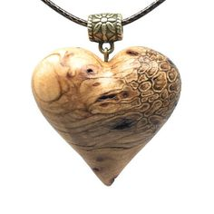 Abstract Heart wooden heart pendant necklace pyrography