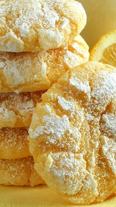 Lemon Gooey Butter Cookies – From Scratch - Wicked Good Kitchen cookie recipes - Dinner Recipes Lemon Crinkle Cookies, Gooey Butter Cookies, Lemon Sugar Cookies, Cake Mix Cookies, Fun Cookies, Lemon Butter Cookies Recipe, Cookies Soft, Lemon Cupcakes, Baking Cookies