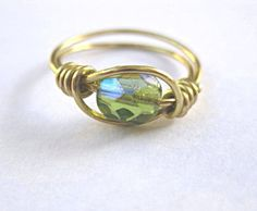 Peridot green ring or toe ring gold wire by SunshineDaydreamz, $8.00