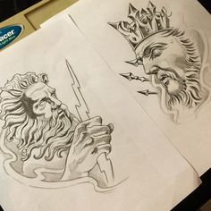 Lessons That Will Get You In The arms of The Man You love Poseidon Tattoo, Poseidon Drawing, Tattoo Design Drawings, Tattoo Sketches, Tattoo Designs, God Tattoos, Future Tattoos, Zues Tattoo, Tatuaje Cover Up