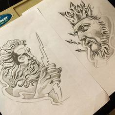#sketch #arte #art #drawing #painting #zeus #poseidon #newtraditional #neotraditionaltattoo ...