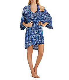 In Bloom by Jonquil Devi Paisley Short Wrap Robe and Chemise #Dillards