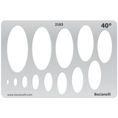 2163 Art and Craft Design Template Stencil for Jewellery Making Drawing and Drafting - Ovals Ellipse 40 Degrees