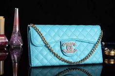 Coolest Chanel iPhone 6 / 6 Plus Leather Wallet Case - Fashion - All That Shimmers Serendipity - Blue - LeatheriPhone6Cases.com