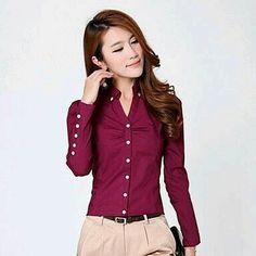 47608ce4eaf35 2016 Spring long-sleeve female shir women blouse OL Ladies Office Shirts  work wear women blouses Casual plus size chiffon tops