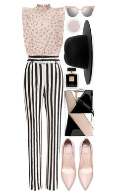 A fashion look from May 2017 featuring crop tops, striped wide-leg pants and shoulder strap purses. Browse and shop related looks. Bralette Tops, Wide Leg Pants, Nine West, Avon, Fendi, Fashion Looks, Colours, Crop Tops, Spring