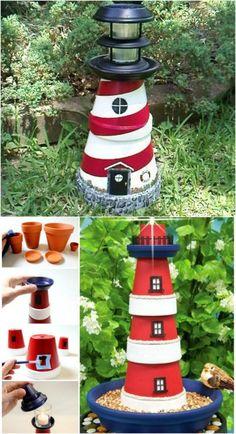 Charmingly Nautical DIY Garden Decoration: Clay Pot Lighthouse--next to pond #GardenDecoration
