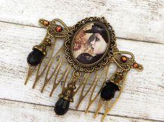 Haarkamm mit Steampunk Lady in schwarz bronze von Schmucktruhe