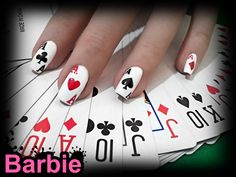 Cards Nails - Nail design in the shape of playing cards, it's poker time.