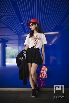 hat, sunglasses, sneaker