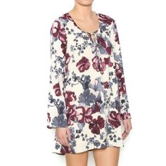 NWT Shift dress with Bell sleeves Beautiful floral dress with bell sleeves and lace up front. Open key hole back with clasp. brand new with tag. Illa Illa Dresses Long Sleeve