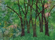 Blue Trees Variation #4  ©2016 Carolyn Collins Hand dyed fabrics, batik 16 x 12 inches