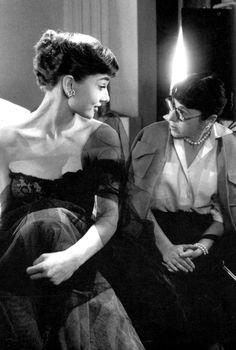 Audrey Hepburn with costume designer Edith Head.