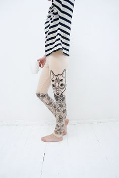 Meadow wolf- beige leggings with black graphic print Too CUTE! on Etsy by ZIBtextile