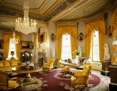 Queen Victoria's Drawing Room, Osbourne House. Pure silk damask in brilliant amber for the Drawing Room and Billiard Room window drapes, upholstery and dividing curtain redrawn from early 19th Century remaining fragments. www.humphriesweaving.co.uk