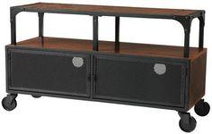 Mid Century Modern Industrial Wood & Metal TV Stand Entertainment Media Cabinet #RusticPrimitive
