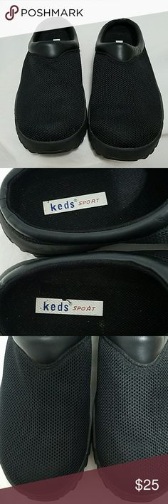 Keds sport black mules size 7.5 Gently worn black mules with a mesh top material practically brand new bottoms are made like a sneaker very comfortable only worn a few times too wide to keep on my narrow foot no damage that I can see Keds Shoes Mules & Clogs