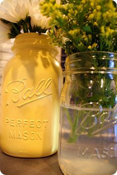 Love the idea of spray-painted Mason jars! photo from Thrifty Decor Chick Mason Jar Tags, Mason Jar Crafts, Spray Paint Mason Jars, Crafts To Do, Diy Crafts, Thrifty Decor Chick, Ball Jars, Painted Mason Jars, Canning Jars