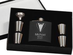 Set of 8, Groomsmen Gift, Flask Gift Set - Personalized Flask, Engraved Flask, Personalized Shot Glasses - Gift for Groomsmen, Best Man Gift on Etsy, $176.00