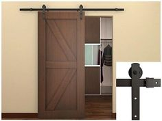6 FT Dark Coffee Country Barn Wood Steel Sliding Door Hardware Set Antique Style