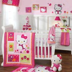 Hello Kitty Room for the baby girl---Where was this when Mackenzie was a baby????