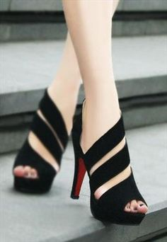 asymmetrical black heels