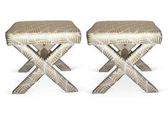 Metallic Gold Patterned X Benches, Pair on OneKingsLane.com