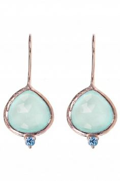 rose gold plated aqua #chalcedony #earrings I designed for NEW ONE I NEWONE-SHOP.COM