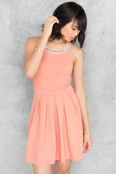 Jaclyn Embellished Dress- Coral cora-cl