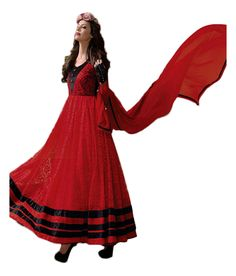 Typify Fabulous Red Embroidered Anarkali Gown Dress Material