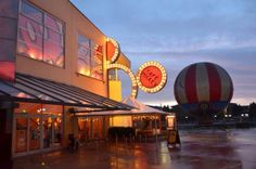 #Disneyland Paris. Cafe Mickey Restaurant in Disney Village with the Panoramagique hot air Balloon #DLP #DLRP #Disney