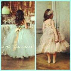 Mint blue and pale gold wedding colors. Cute Flower Girl Dresses!!