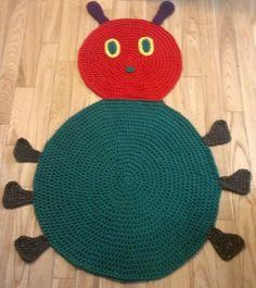 Ravelry: Caterpillar Bug Rug & Play Mat Pattern pattern by Angela Bergeron Crochet Baby Poncho, Crochet Scarf Easy, Cute Crochet, Crochet For Kids, Irish Crochet, Crochet Toys, Crochet Things, Crochet Rug Patterns, Crochet Beanie Pattern