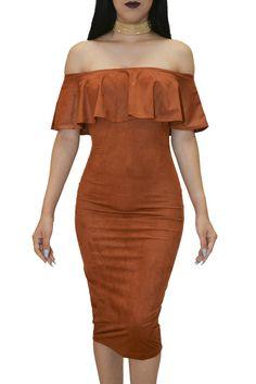 Maria Brick Off Shoulder Dress