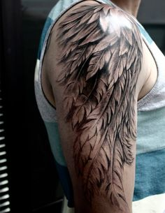feather wing sleeve tattoo for men sleeve tattoos pinterest tattoos sleeve tattoos and. Black Bedroom Furniture Sets. Home Design Ideas
