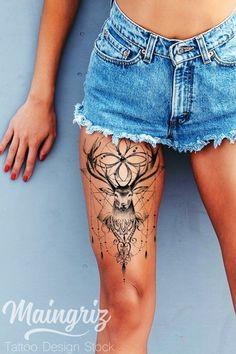 Hirsch Tattoo Bein, Hirsch Tattoos, Hirsch Tattoo Frau, Foot Tattoos, Cute Tattoos, Sleeve Tattoos, Geometric Deer, Geometric Tattoo Design, Stag Tattoo Design