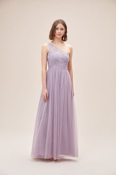 One-Shoulder Embroidered Soft Net Bridesmaid Dress Melbourne, Sydney, Bridesmaids, Bridesmaid Dresses, Illusion, Bodice, One Shoulder, Sequins, Romantic