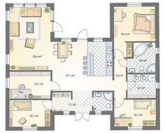 bungalow grundriss 120 qm grundriss bungalow mit integrierter garage ciara pinterest. Black Bedroom Furniture Sets. Home Design Ideas