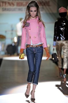 pink coat with boy jeans and gloves, oh my!! Dsquared 2012 Fall/ Winter 2012