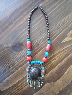 Large chunky Red and Turquoise Colored Beaded by LandofBridget, $23.00