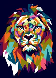 'Abstract Lion, Animal, Lions, Jungle, Abstract' Poster by Art And Illustration, Lion Tapestry, Pop Art Poster, Lion Painting, Polygon Art, Lion Design, Lion Art, Creative Artwork, Art Graphique
