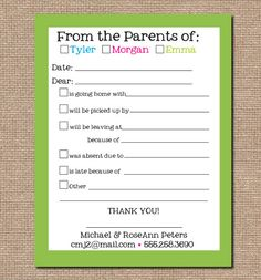 School Excuse Pad, Personalized From the Mom of Pad, School Notepad, Excuse Sheet, back to school on Etsy, $15.75