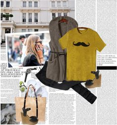 """Yellow Women's Casual Summer Fall Moustache Printed Short Sleeve T-shirt"" by mirelakljajic ❤ liked on Polyvore"