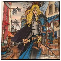 Celaena Sardothien - Throne of glass colouring book. coloured by Sendaria