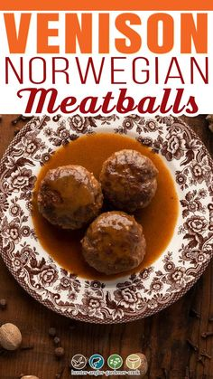 While pretty much everyone has heard of Swedish meatballs, I am here to cast a vote for their neighbor, Norwegian meatballs, Kjøttkaker. Norwegian meatballs are a bit larger and flatter than their Swedish cousins, but both use spices from the Silk Road, a relic of the ages when Vikings brought exotic spices back with them from their voyages.  @huntgathercook #venisonrecipes #venisonmeatballs #norwegianmeatballs #deerhunting #vensionrecipes #groundvenisonrecipes #venisonappetizerrecipe Norwegian Meatball Recipe, Swedish Meatball Recipes, Ground Venison Recipes, Venison Meatballs, Brown Gravy Recipe, Meat Cake, Gluten Free Meatballs, Recipe Using