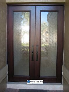 Superior Contemporary And Clean Front Door Look. Double Front Doors Made From  Mahogany Wood And Textured