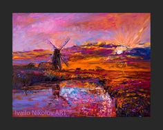 Sunset Over the Lake-Original Oil Painting on Canvas 26 x 20 Landscape Painting Original Art Impressionistic Oil by Ivailo Nikolov  - Title: Sunset