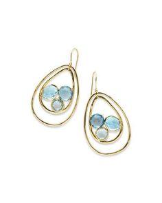 Y372Z Ippolita 18K Rock Candy Pear-Shaped Wire Earrings in Midnight Rain