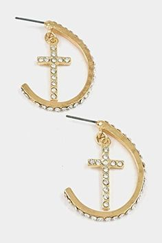 Karmas Canvas Half Hoop with Cross Dangle Crystal Earring Gold -- You can get more details by clicking on the image. Note:It is Affiliate Link to Amazon.